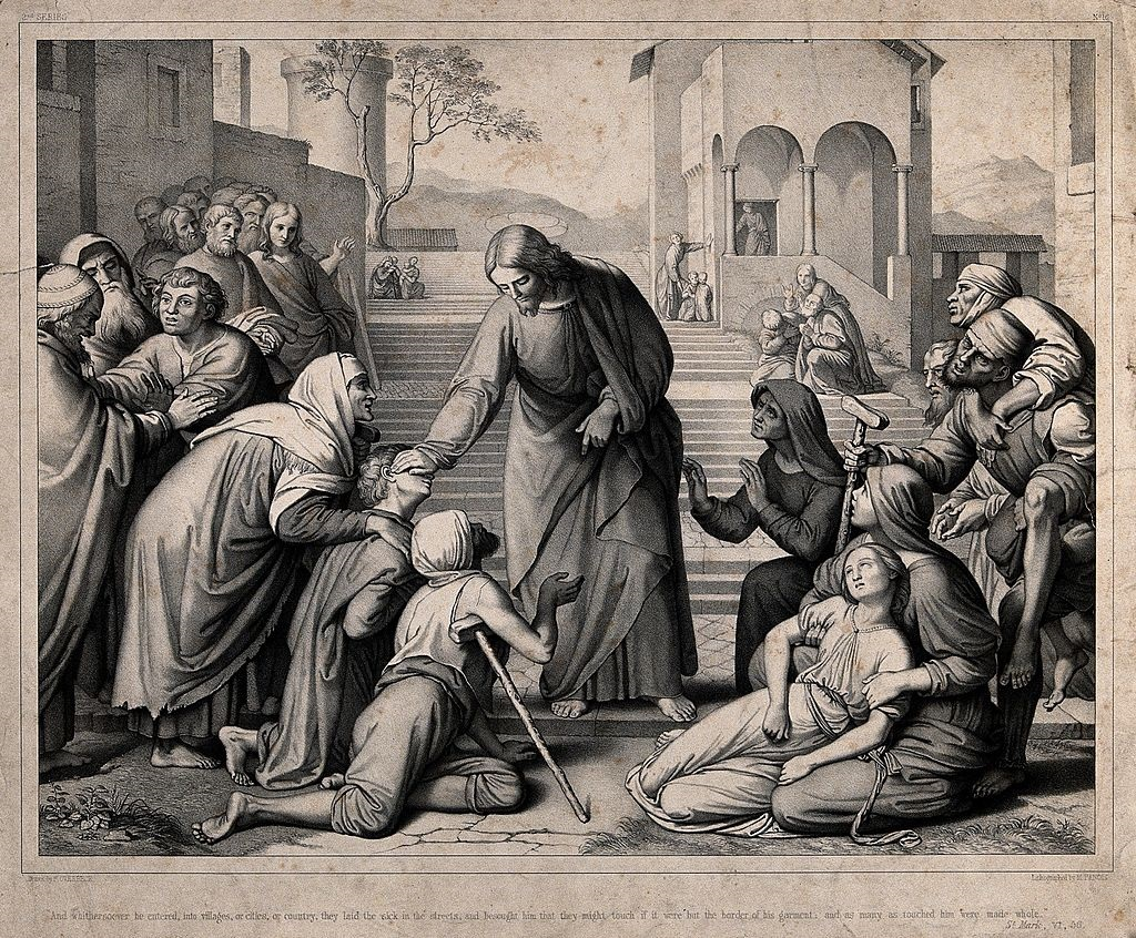 The_sick_come_to_Christ_on_his_travels._Lithograph_by_M._Fan_Wellcome_V0034927